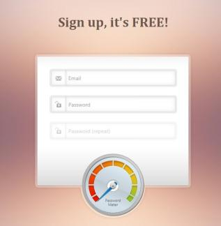 Login / Registration Form with Password Meter