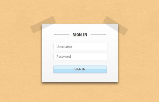 Paper Tape Login form