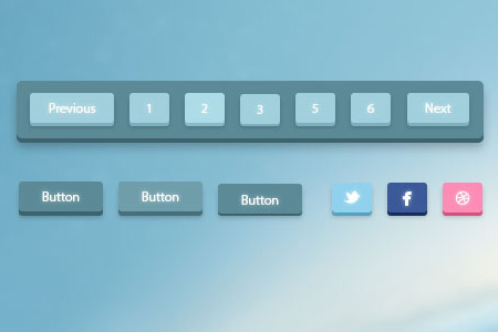 3D Pagination and Social Buttons
