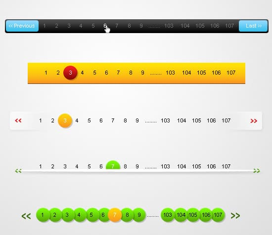 Colorful Pagination PSD Set