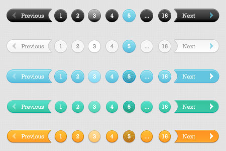 Awesome 5 Pagination Styles PSD