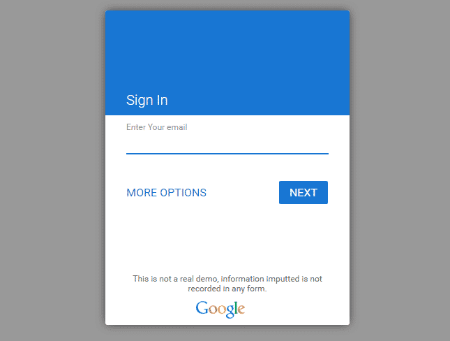 Login Form Like Google