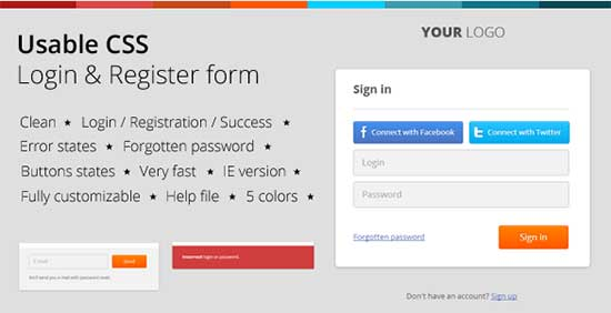 Login & Register HTML & CSS Form Template