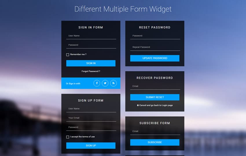 Different Multiple Form Widget UI Design