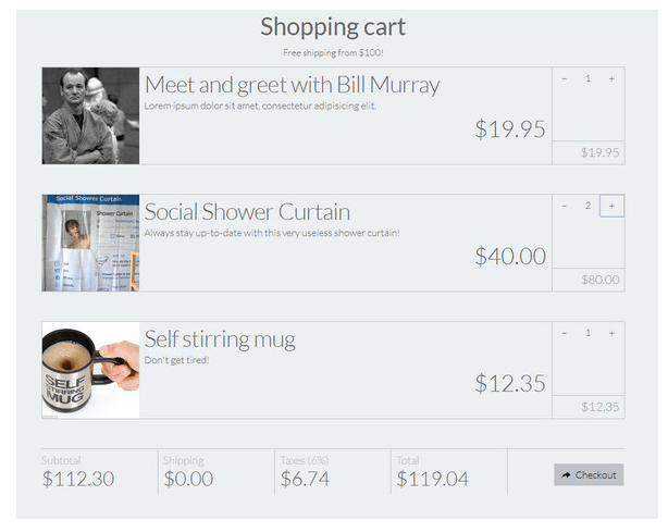 Shopping Cart CSS Template