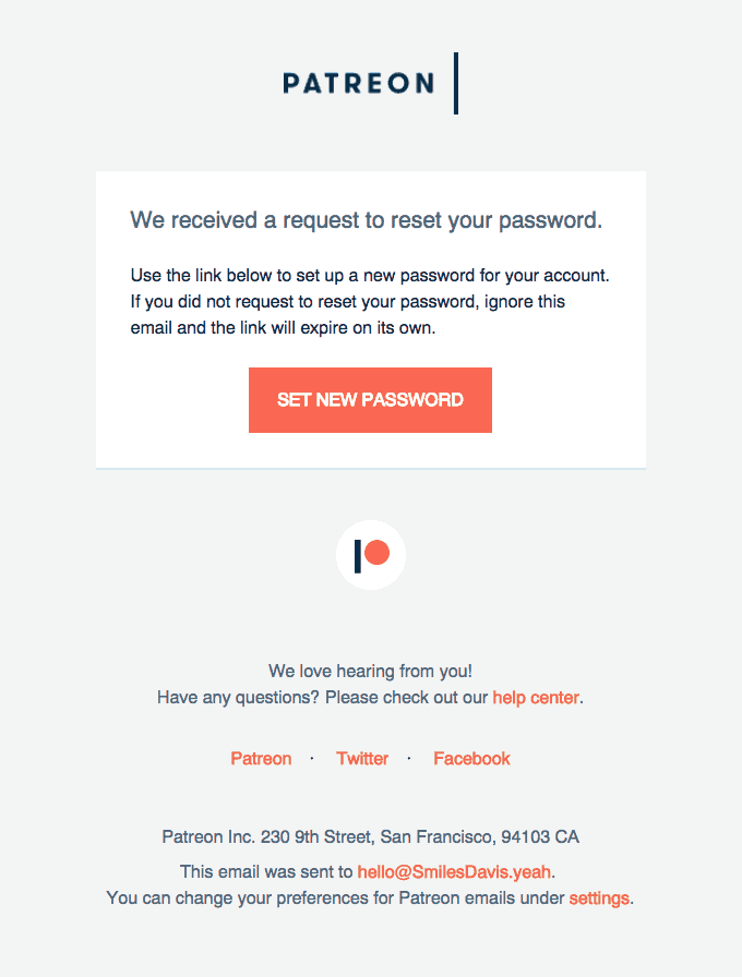 PatreonForgot Password Email Template