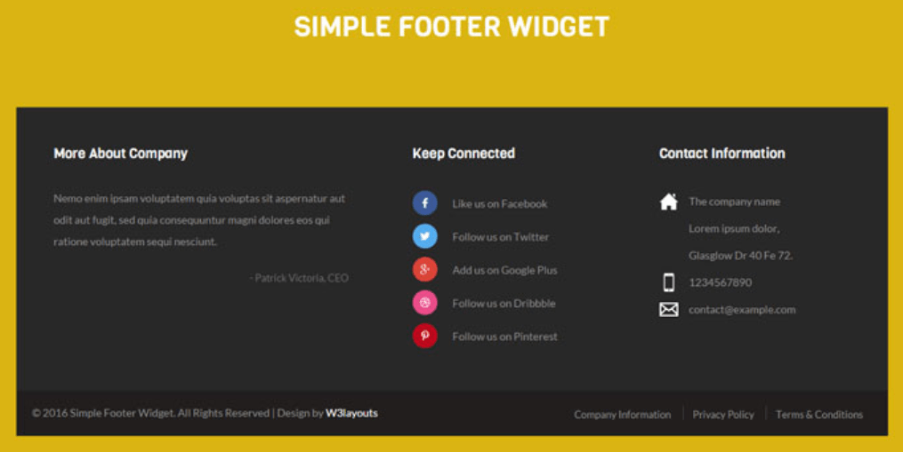 Simple Footer Responsive Widget Template
