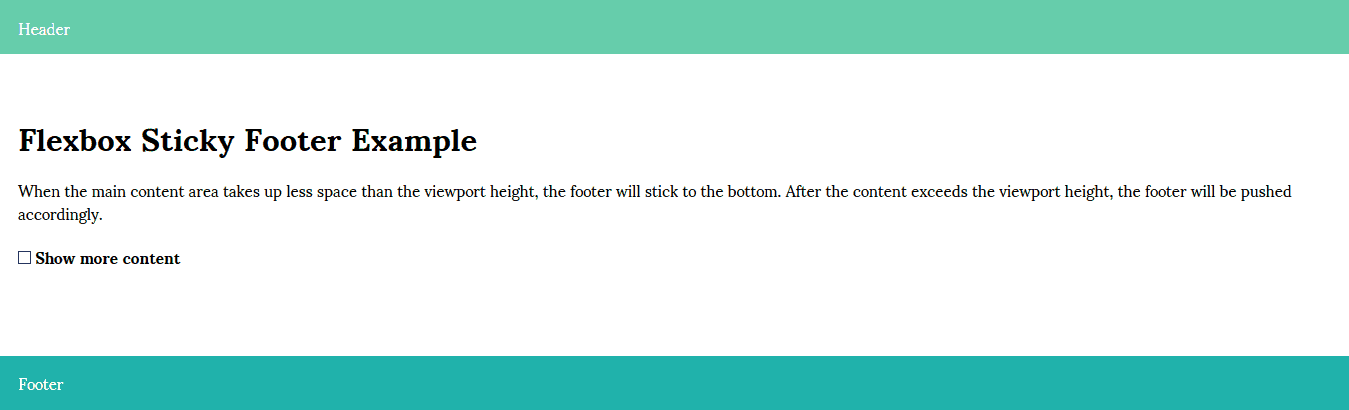 Flexbox Sticky Footer HTML Template