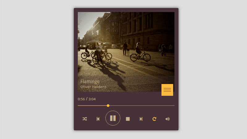 Daily UI Music Player For Website HTML Code
