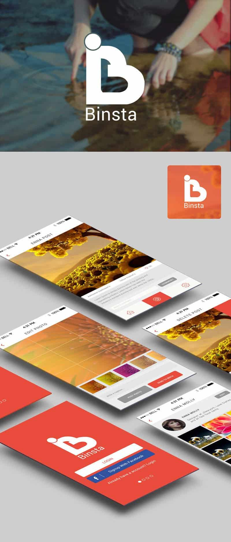 Free Binsta App UI PSD Interface Design