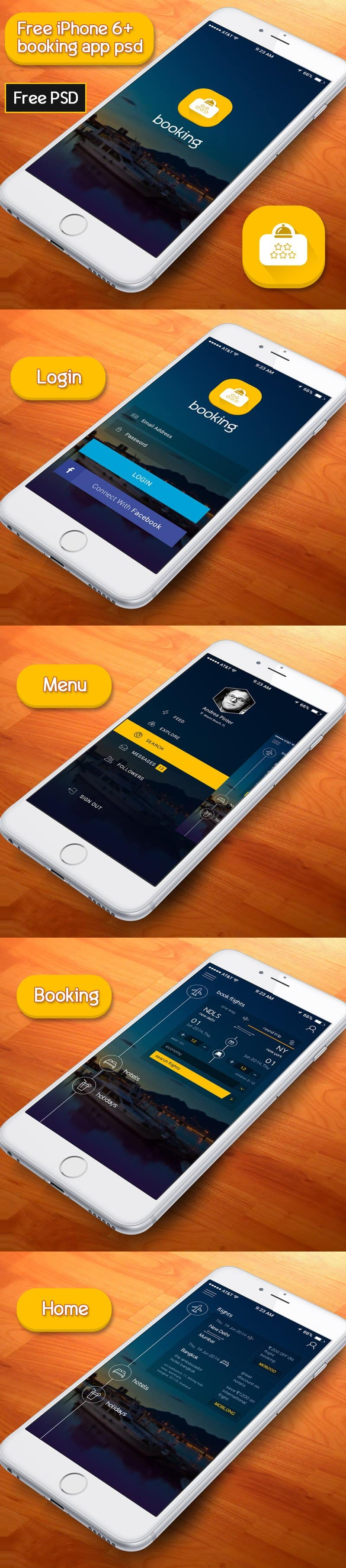 Booking App PSD According to iPhone 6+