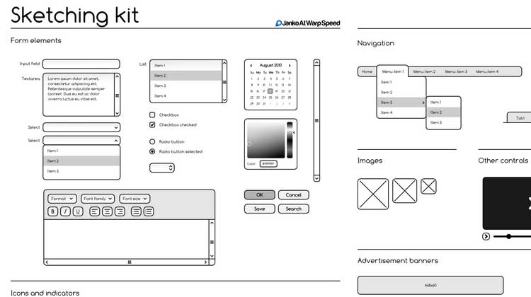 Free-Sketching-Wireframing-Kit