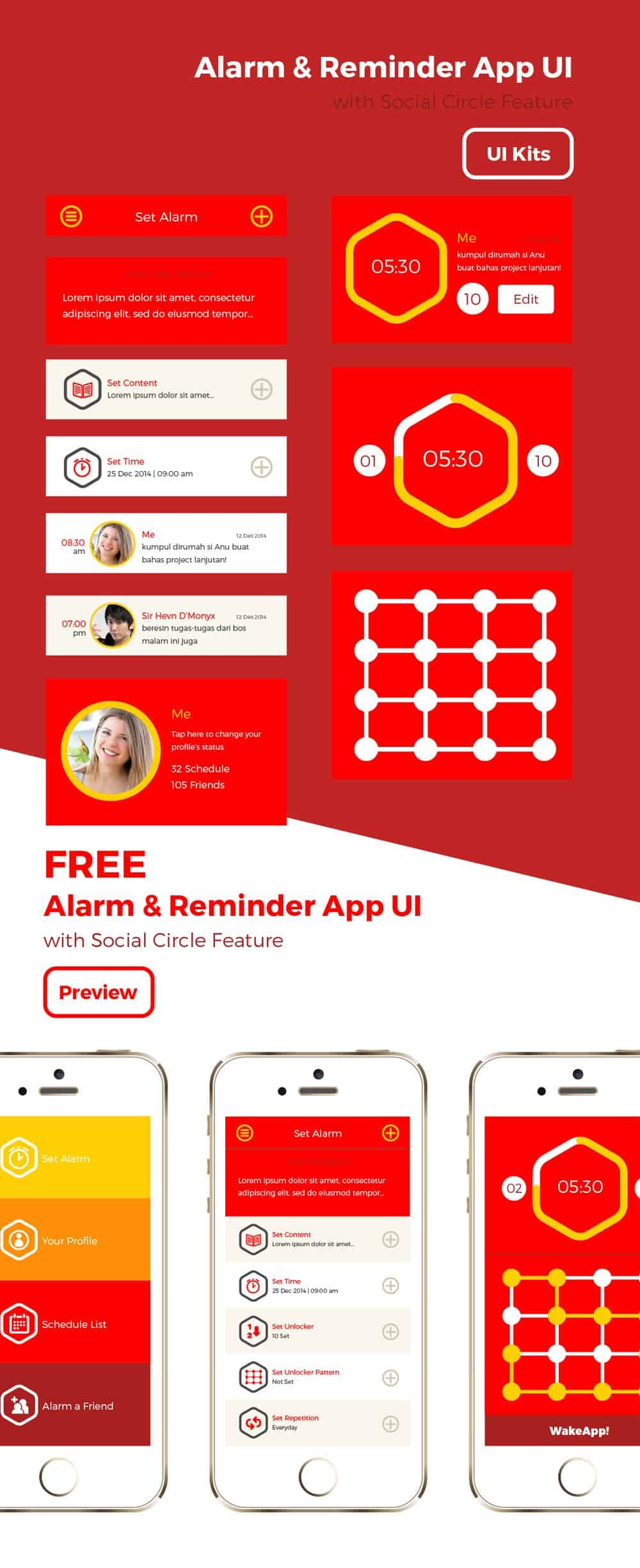Free Wakeapp UI PSD Interface Design