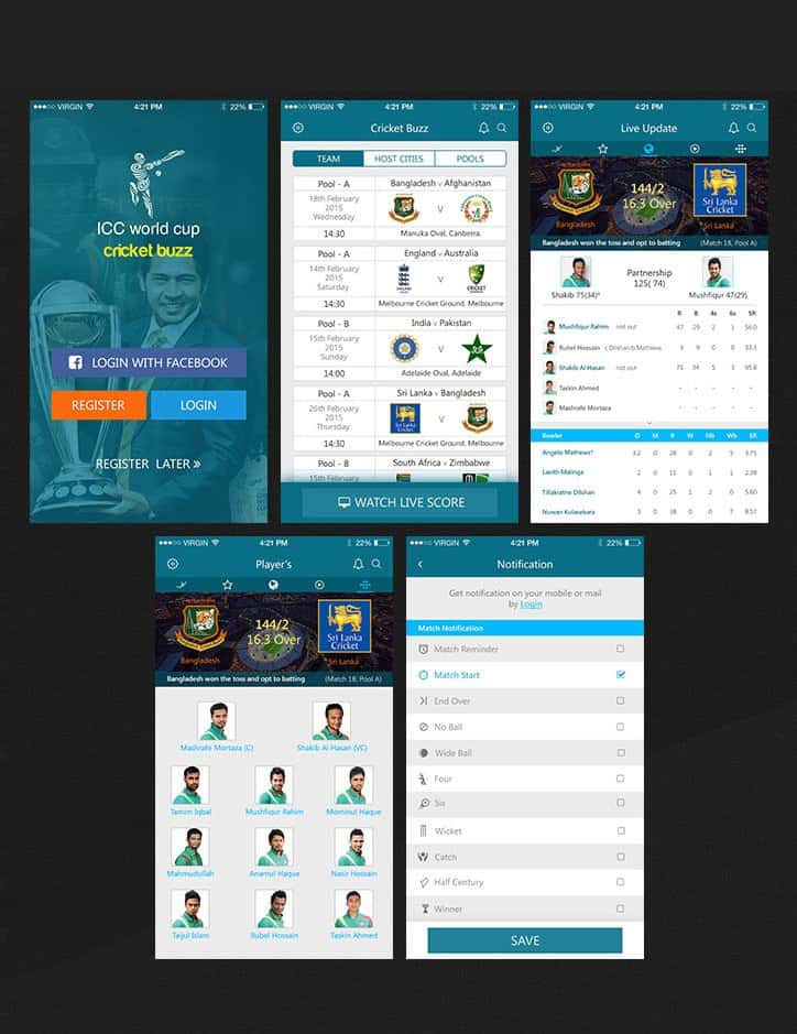 Cricket Live Update iOS APP UI PSD