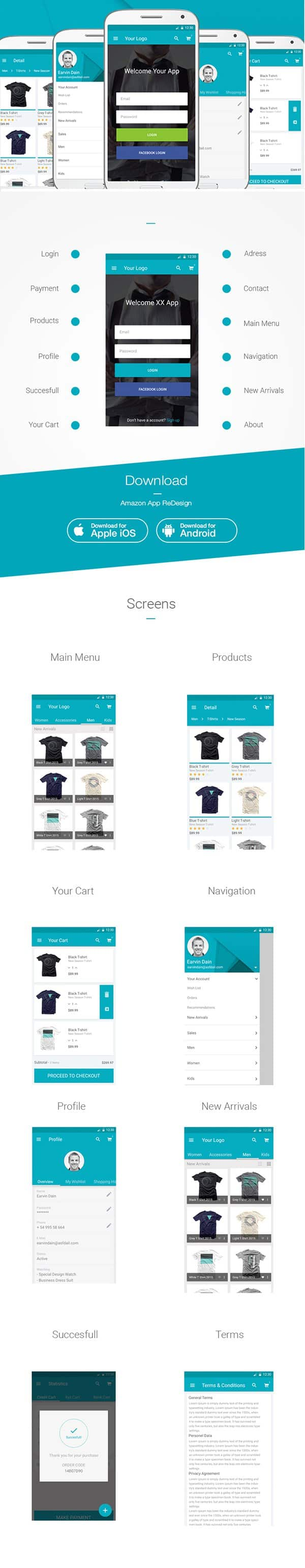 E Commerce App UI PSD - Flat UI Design Templates
