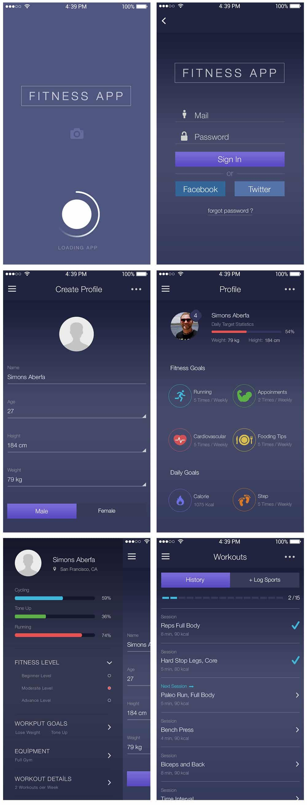 Fitness App Ui PSD  Interface Design
