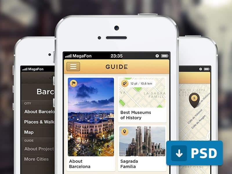 Guide App Free PSD Design Inspiration