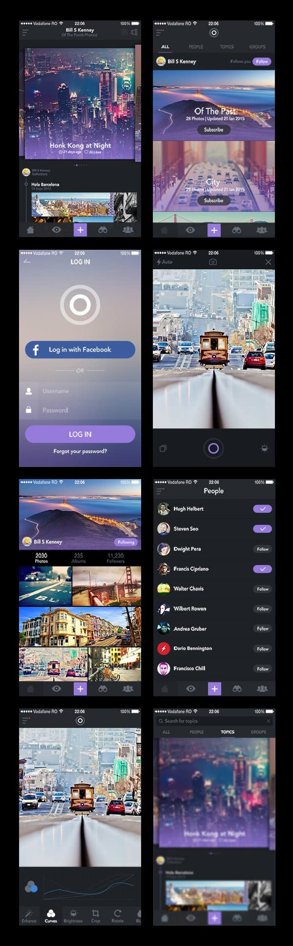 Photo Sharing App UI PSD Design Templates