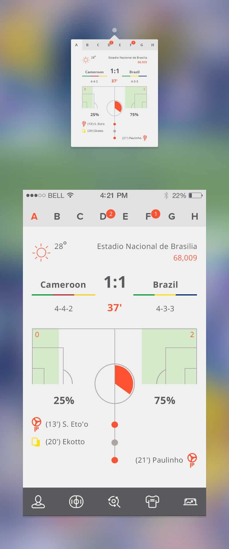 Soccer Apps Free PSD Interface Design