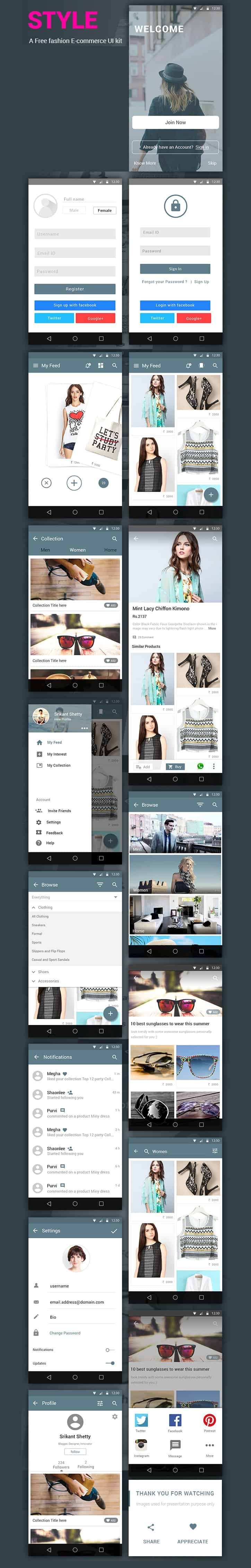 Style – Free e-commerce App UI Kit