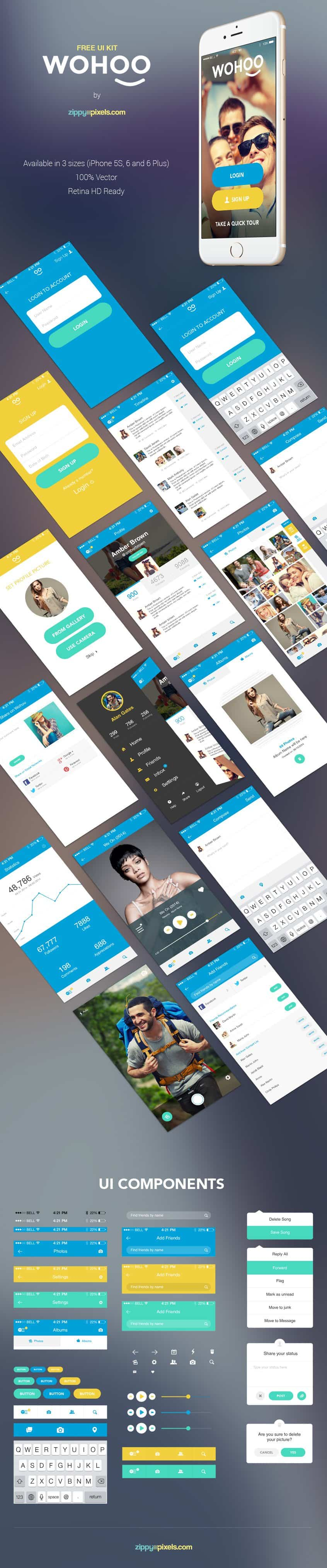 WOHOO – Free Mobile App UI KIT