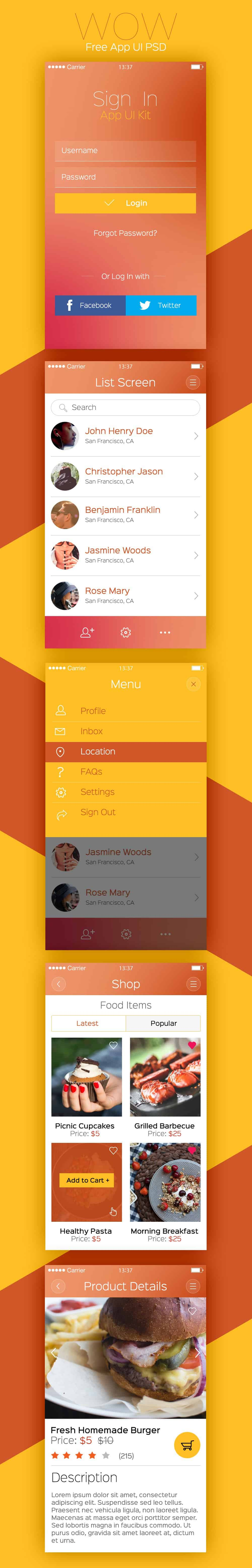 WOW -Modern Mobile App UI