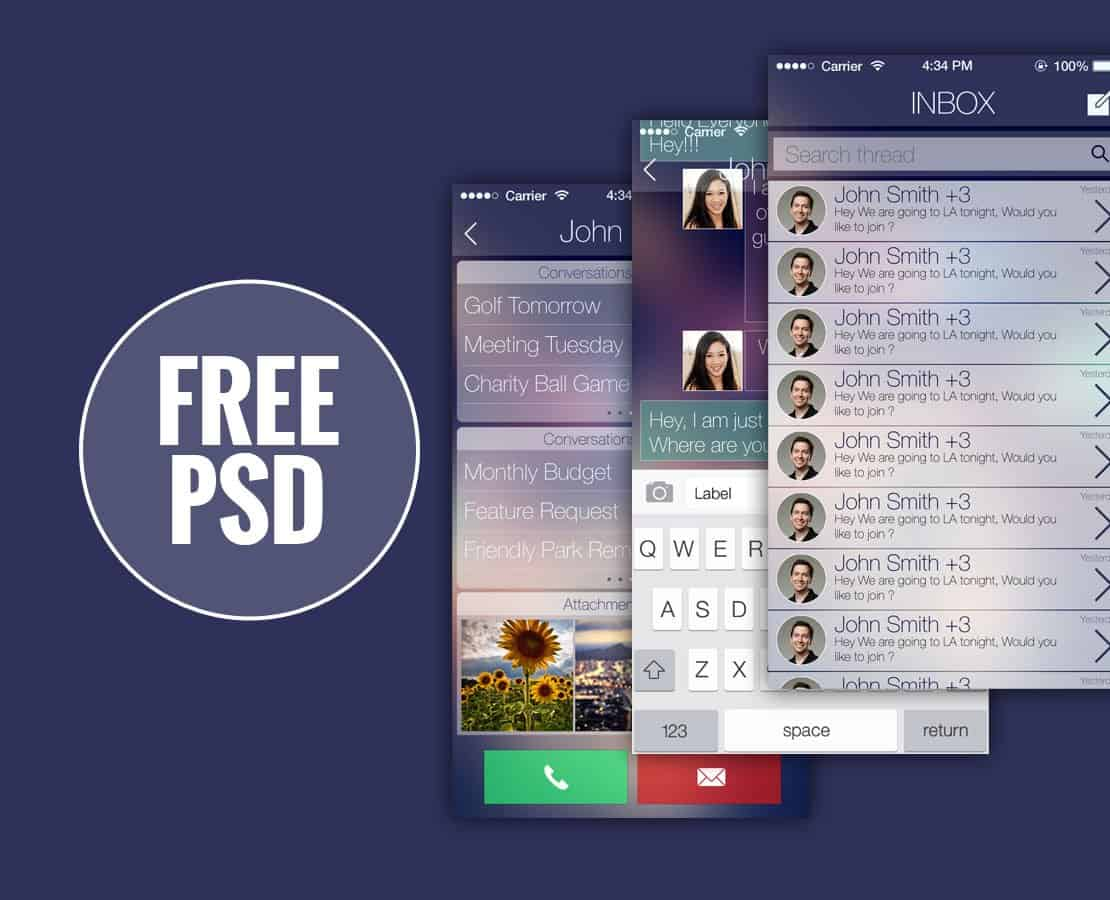 iOS Chat App UI Kit PSD Design Templates