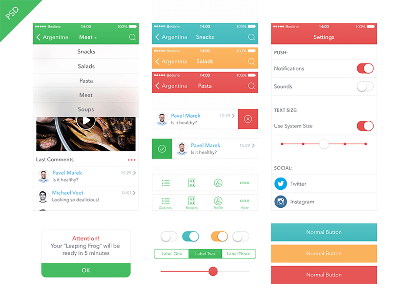Food App Kit iOS 7 Design Templates