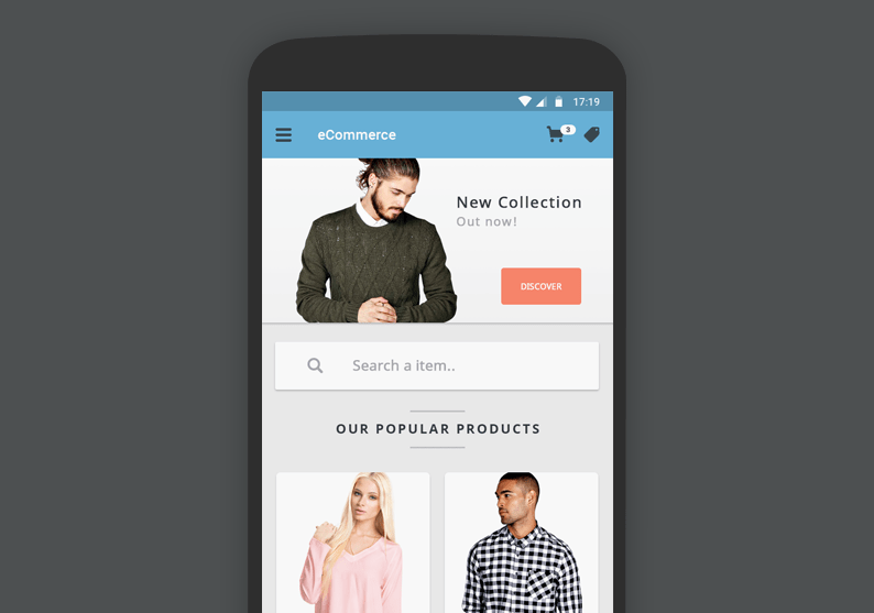 Free eCommerce App UI PSD User Interface Design