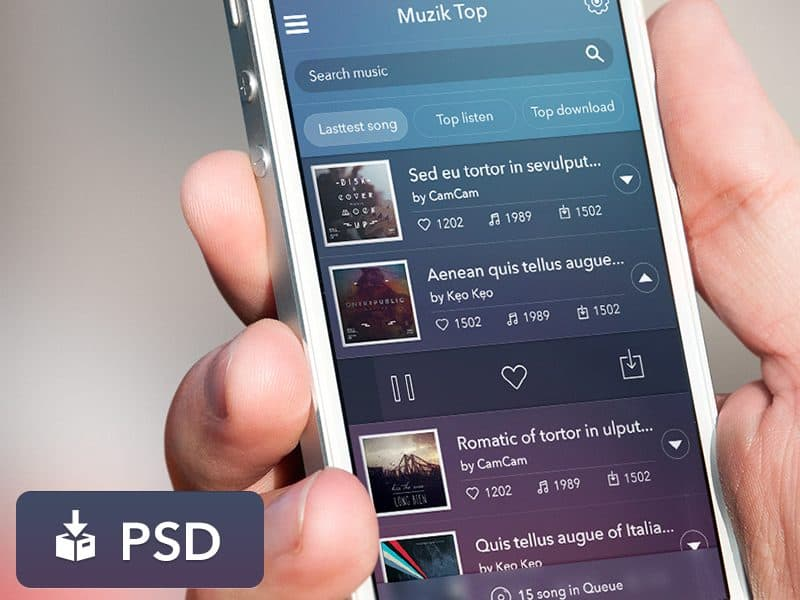 Music App UI PSD Interface Design