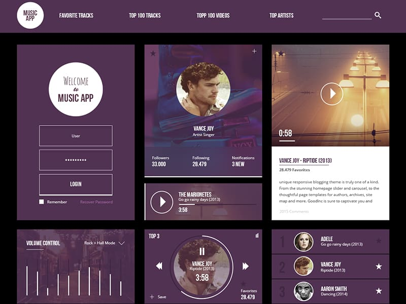 Free Music App UI Kit Design Tutorial