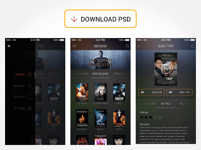Free Movie App UI PSD Design Tutorial