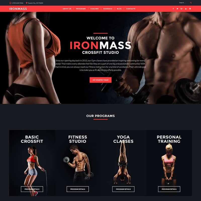 IronMass - Gym Fitness Responsive Website Templat