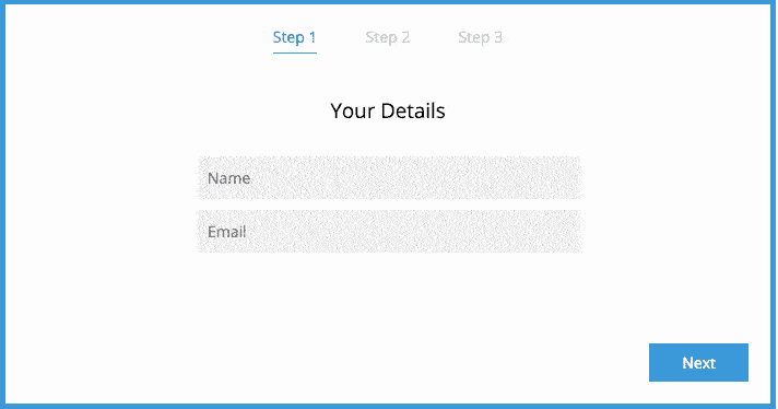 Simple Interactive Three Step Sign up Form