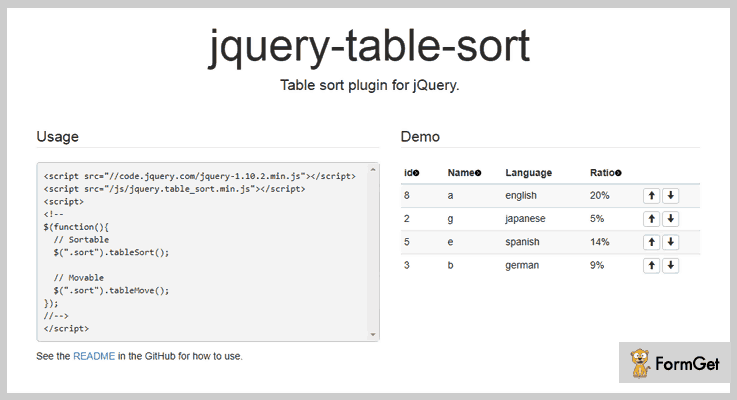 jQuery Table Sort Plugin