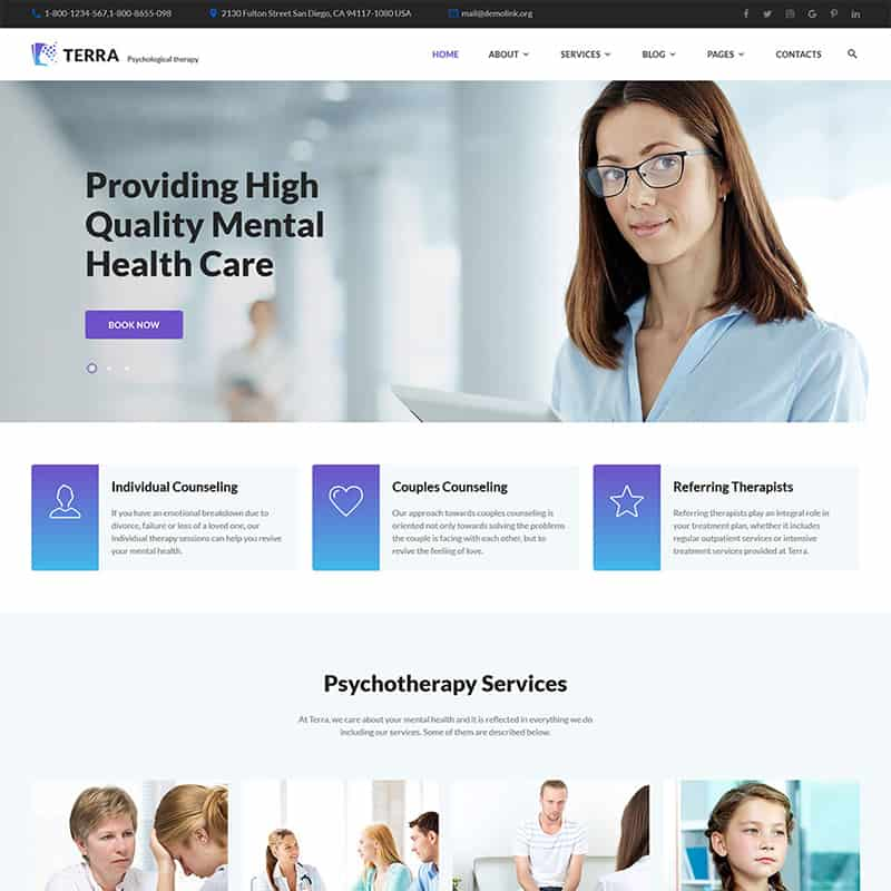 Terra - Responsive Psychologist Multipage HTML Website Template