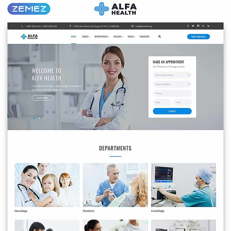 Alfa Health - Modern Doctor Multipage HTML Template