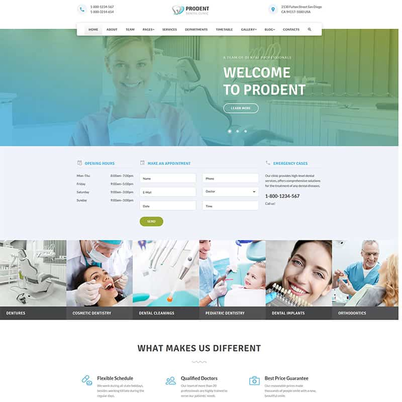 Prodent - Clean Dentistry Multipage Bootstrap Website Template