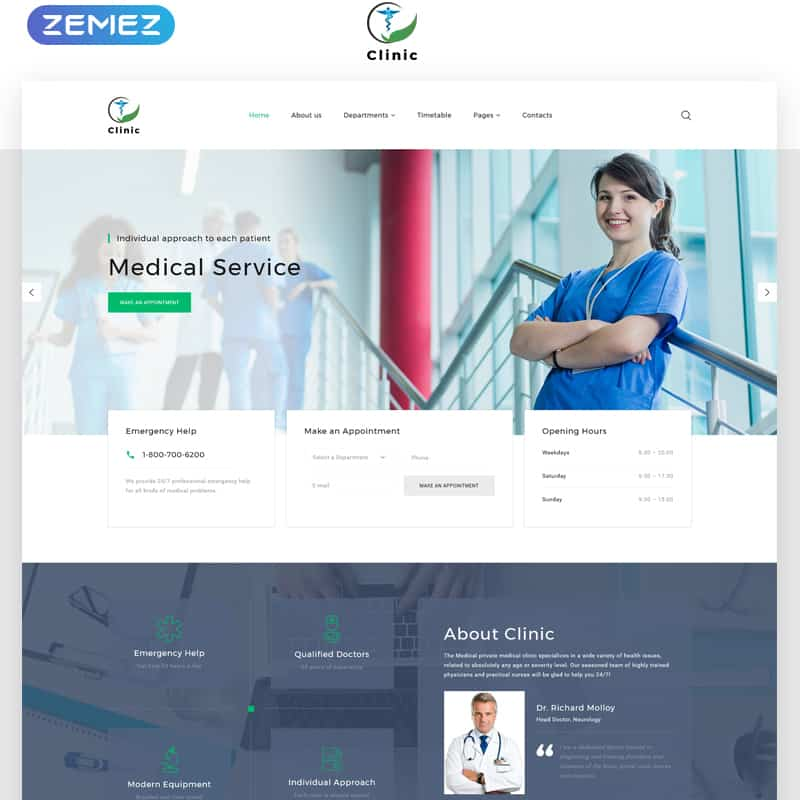 Clinic - Medical Service Multipage HTML5 Template