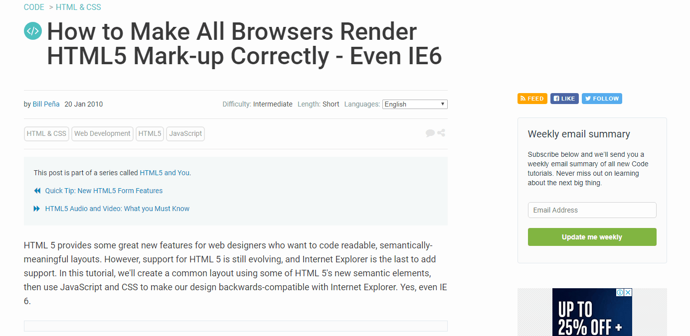 How to Make All Browsers Render HTML5 Mark-up Correctly – Including IE6