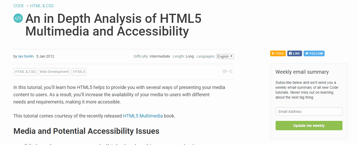 An in-Depth Analysis of HTML5 Multimedia and Accessibility