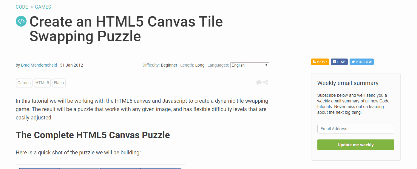 Create an HTML5 Canvas Tile Swapping Puzzle