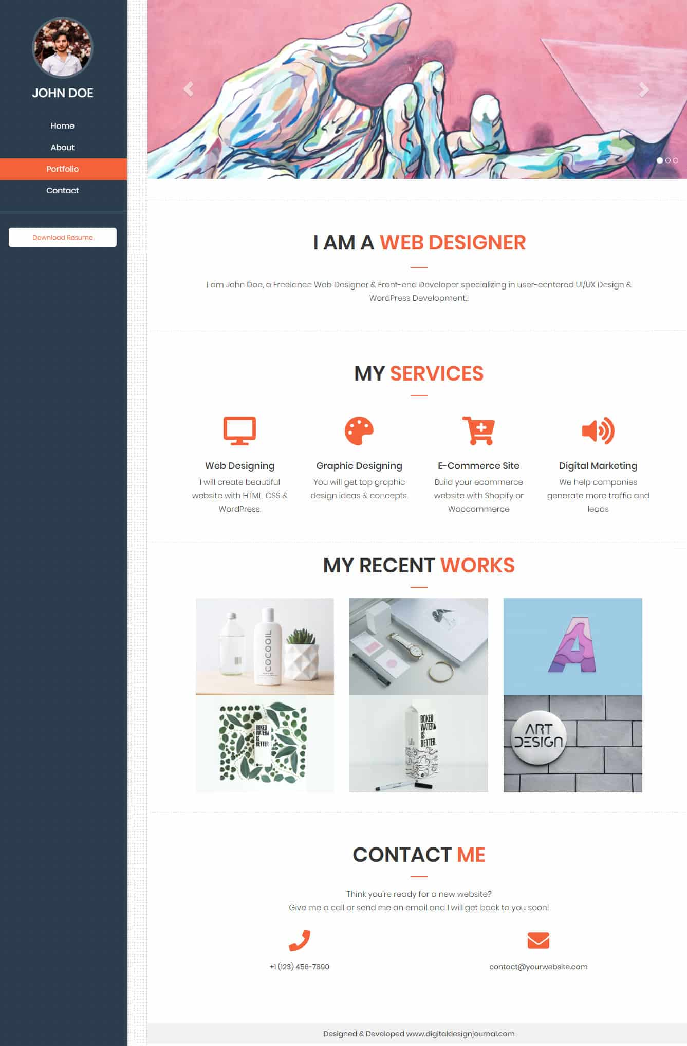 free single page scrolling html5 portfolio template