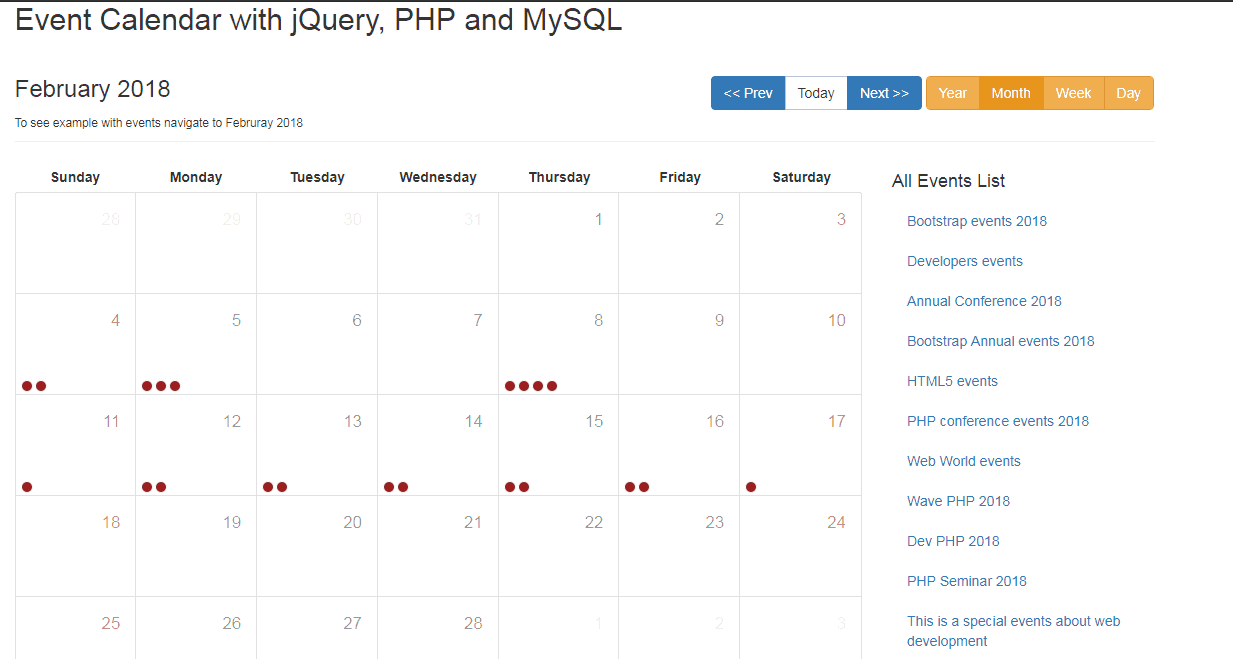 Event Calendar with jQuery