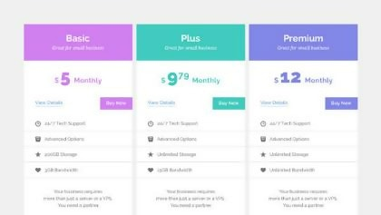 Pastel HTML5 Pricing Table Template