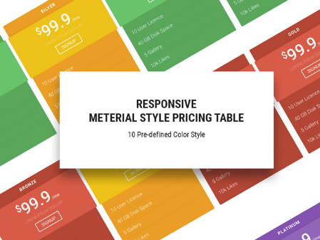 Free HTML5/CSS3 Material Design Pricing Table Template