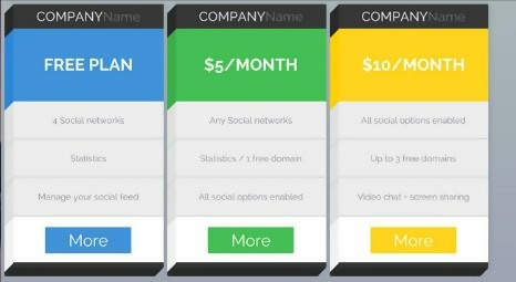 3D Pricing Tables Layout with CSS3