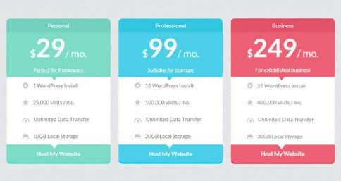 Cool HTML5/CSS3 Flat Pricing Table Template
