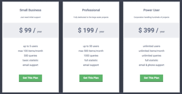 Free Pricing Table with Sliding Effect
