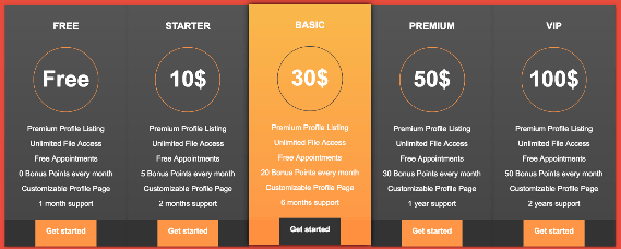 Free Colourful Excellent Pricing Table